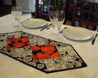 Quilted  Table Runner, Topper or Accent in Black, White and Red Strawberries