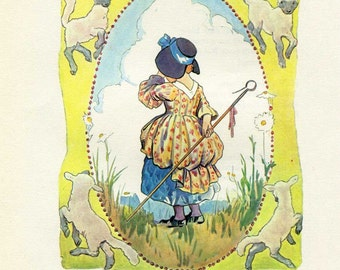 Vintage Child's Nursery Rhyme Print, Little Bo Peep Lost her Sheep, 1980 Bookplate Print, Mother Goose Print, Margaret Tarrant