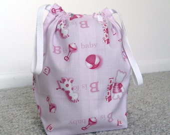 CLEARANCE SALE - Pink Baby Drawstring Knitting Project Bag