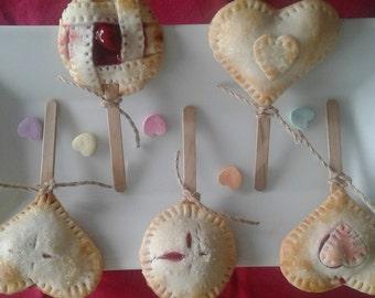 Pie Pops/1 Dozen/Heart Shaped Pie Pops/Wedding Favors/Party Favors/Hand Pies/Cherry Pie/Apple Pie/Peach Pie