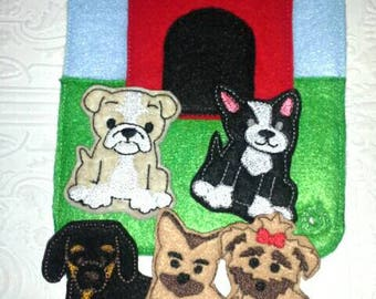 Dog Finger Puppets - Busy Book - Quiet Book - Busy Bag - Dog Busy Book - Puppy Busy Bag - Build Your Own - Toddler Learning Toy - Montessori
