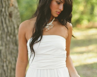 clear briolette and ivory necklace - bridal