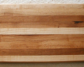 Edge Grain Hickory & Maple Butcher Block Handcrafted Cutting Board Free USA Shipping