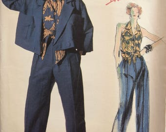 Danny Noble Vogue 1559 Sewing Pattern 1980s Double Breasted Jacket Halter Wrap Top Pleated Pants Individualist American Designer UNCUT Sz 10