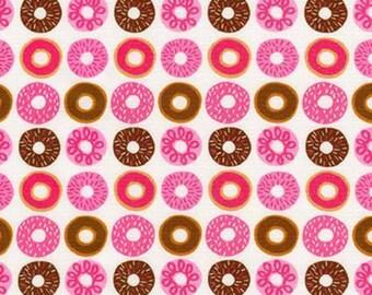 Suzy's Mini's, Mini Doughnuts on Pink cotton woven fabric