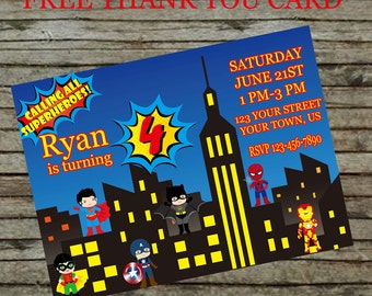 Super Hero birthday  Invitation DIY Custom