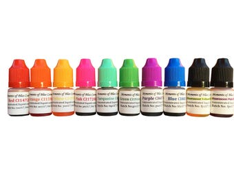 Cosmetic Soap Bath Bomb Colouring Dye Cosmetic Colour Water Based Dyes 10 x 5mL Complete Set - UK Seller