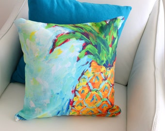 Pineapple Pillow, Pineapple Home Decor, Pineapple Art, Fruit Decor, Kitchen Decor, Kitchen Art, Fruit Print, Tropical Pillow Cover