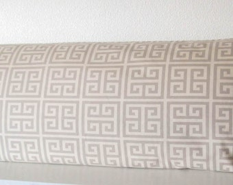 Body pillow cover - Taupe - Greek Key - 20x54 - Geometric - Body pillow case