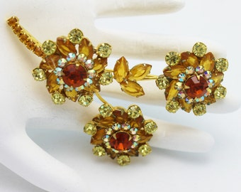 Juliana Flower Brooch Topaz and Gold
