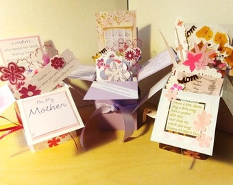 Handmade Exploding Box Mother's Day  Card - 2 Variations -- Free Shipping in USA