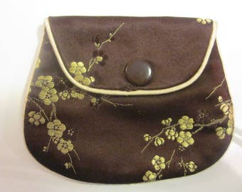 Faux Embroidered Oriental-Themed Silk Change Purse