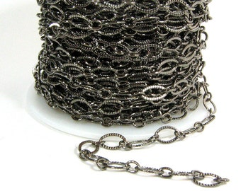 Etched Oval Chain - Gunmetal - CH21 - Choose Your Length