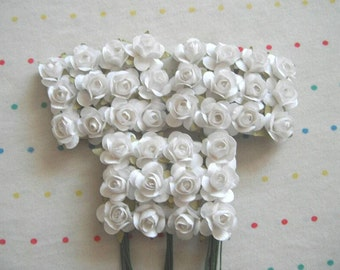White Paper Millinery Flowers, Small Sized Roses (36)