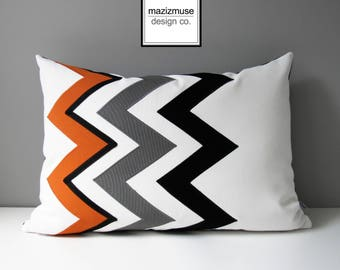 Decorative Orange Pillow Cover, Modern Outdoor Pillow Cover, Black White Orange Chevron Pillow Cover, Sunbrella Cushion Cover, Mazizmuse