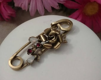 CORO Rose Brooch, Bar Style Pin, Gold Tone, Opal and Red Colored Accent Stones, Designer Coro Jewelry, Romantic Classy Piece