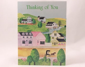 """Artfaire """"Thinking of You"""" Single Card with Envelope. Village"""