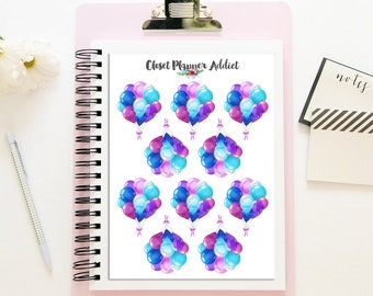 Party Balloons Planner Stickers | Balloon Stickers | Party Stickers | Pink Balloons | Purple Balloons | Blue Balloons (S-310)