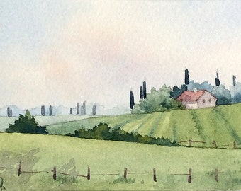 Original watercolor ACEO painting - Green Tuscany