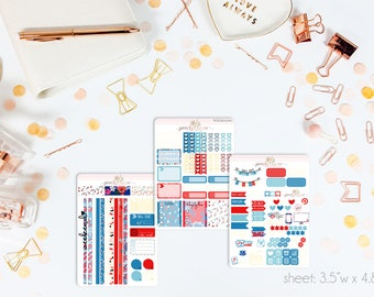 4th of July MINI Weekly Kit // 130+ Matte Planner Stickers // Perfect for your Personal Planner // WKM0200