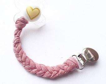 Rose dot Cotton Binky Clip | chewable binky clip | paci clip | pacifier clip | dummy clip