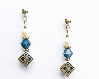 Celtic Knot Earrings - With Blue Crystal and White Pearl - on Ear Posts or Ear Wires