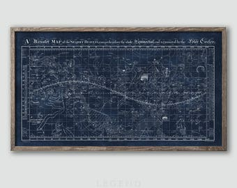 Vintage Celestial Chart Artwork, Sky Map, Star Chart, Constellation Guide, Night Sky Map, Constellations Map, Astrology Print, Astronomy