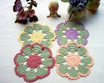 Flower Coasters /Trinket Doilies Crochet Thread Art Set of 4 New Handmade