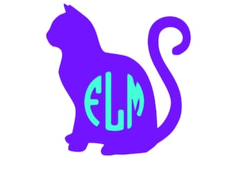 Cat Silhouette Vinyl Decal with monogram