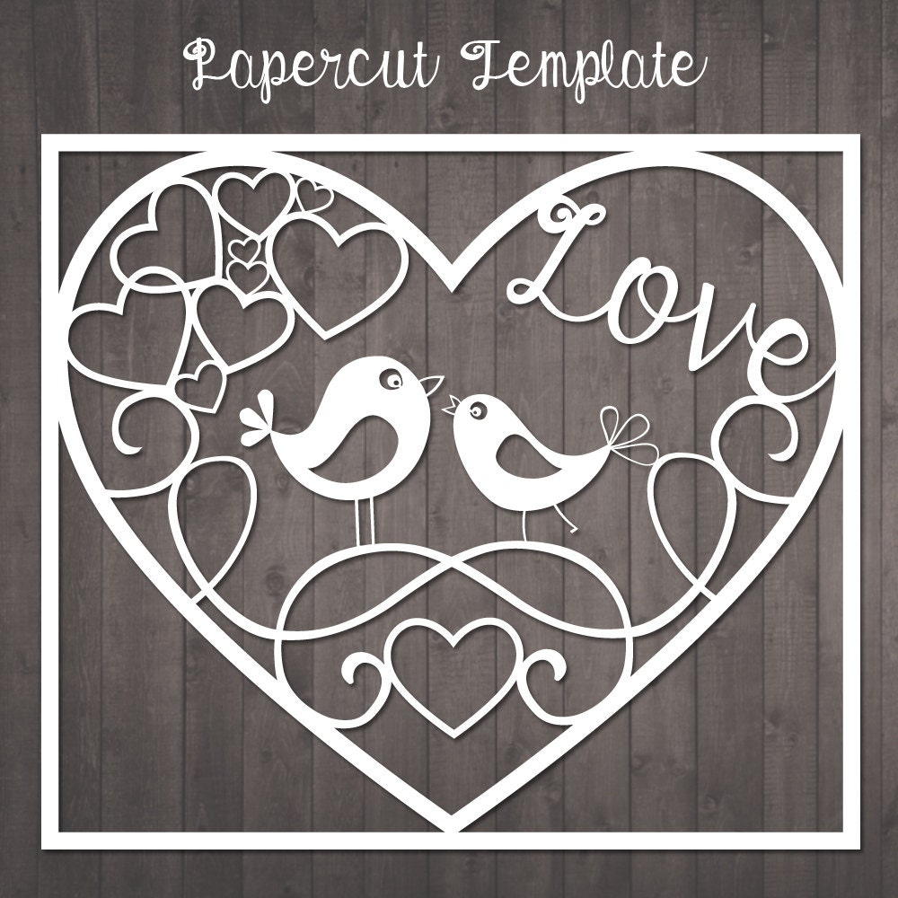 Papercut Template Birds in love paper cut template to cut