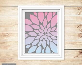 Ombre Pink Blue Floral Flower Burst Wall Art Gray Bathroom Bedroom Livingroom Nursery Decor Printable 8x10 Digital JPG Instant Download (61)