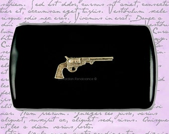 Dragoon Pistol Vertical Business Card Case Inlaid in Hand Painted Black Enamel Neo Victorian Revolver Custom Colors and Personalized Options