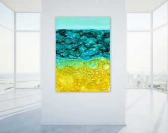 Extra Large Digital Print, Coastal Home Decor, Ocean Abstract Wall Art, Large Scale Printable, Turquoise Gold Yellow Sand