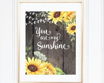 You Are My Sunshine, Nursery Wall Art, Sunflowers, Printable Art, Baby Girl Nursery Decor, Baby Girl Shower Gift, Gift For Mom, Baby Shower