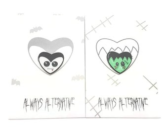 Gothic enamel pin, Vampire Pin, heart pins, pin game, Frankie the Monster, Vlad the Vampire enamel pin badges