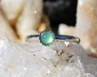 Chrysoprase Ring - Chrysoprase Stacking Ring - Dainty Ring - Petite Ring - Sterling Silver Ring - Green Gemstone Ring - Sterling Ring