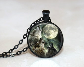 Glass Tile Necklace Wolf Necklace  Moon Necklace Glass Tile Jewelry Animal Jewelry Moon Jewelry Wolf Jewelry Silver Jewelry Black Jewelry