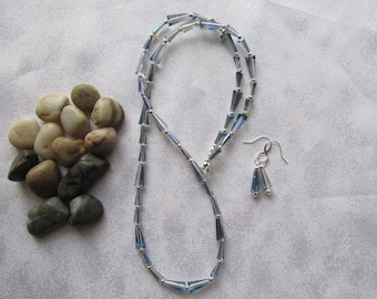 Iris Blue Pagoda Necklace and Ear Rings