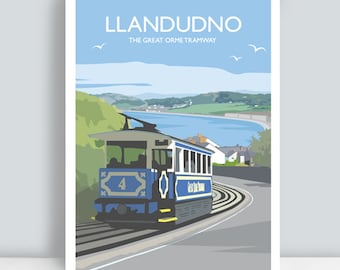 Llandudno, The Great Orme Tramway, Conwy, North Wales. Travel Art Print/Poster. PLUS FREE POSTAGE!