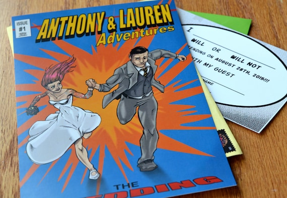 Items similar to Comic Book Style Wedding Invitation- Customized ...