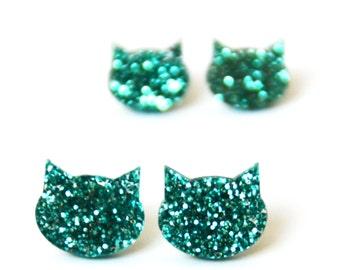 Glitter Cat Studs · Turquoise Glitter Cat Earrings · Green Cat Earrings · Glitter Cat Earrings · 2 sizes