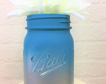 Silver Metallic and Teal Ombre Painted Pint Mason Jar