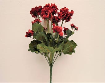 "RED Geranium Bush Artificial Silk Flowers 20"" Bouquet 12-8390RD"