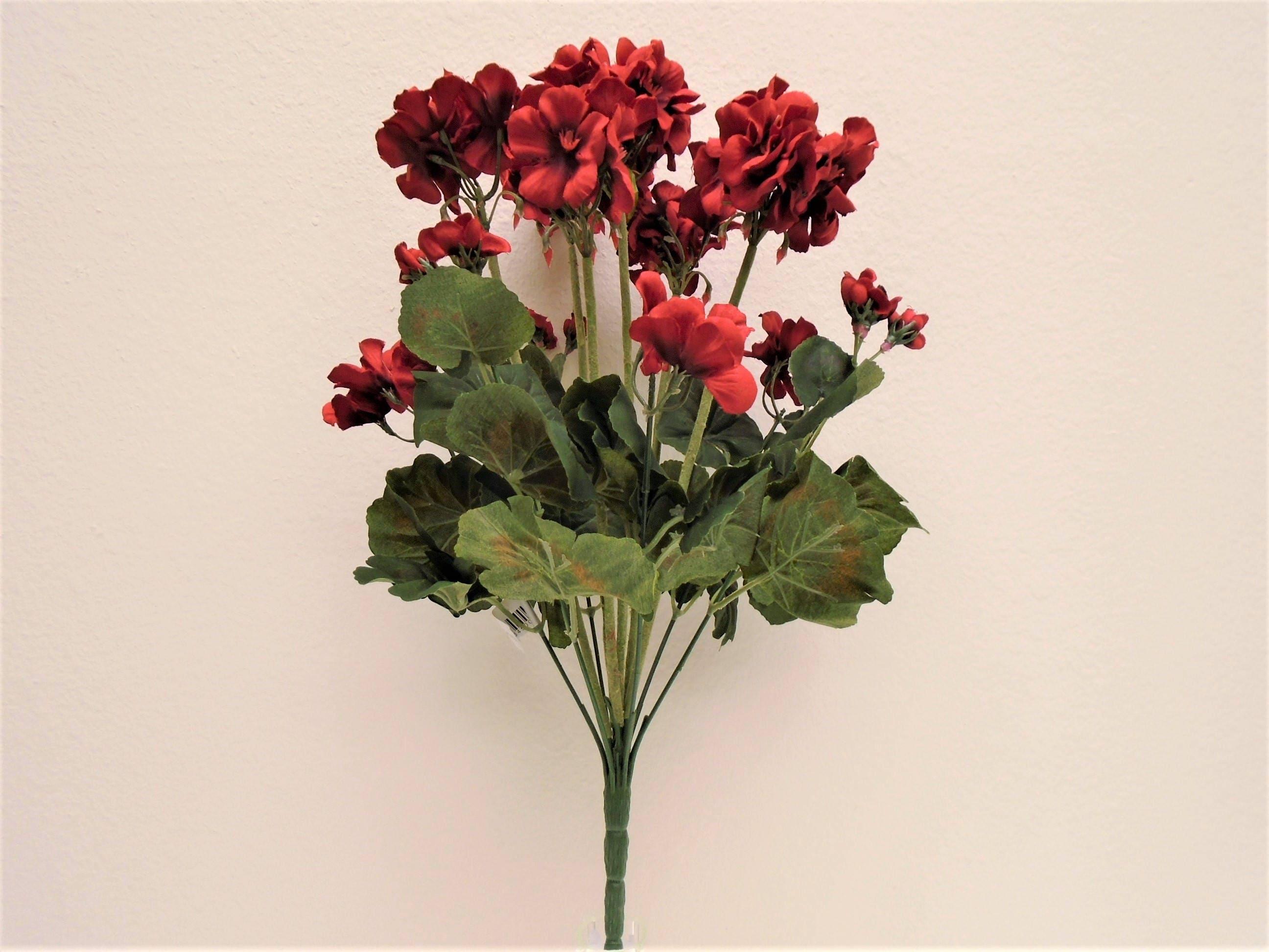 Red Geranium Bush Artificial Silk Flowers 20 Bouquet 12 8390rd From