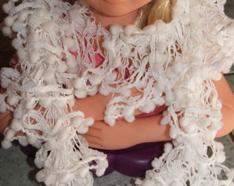 For little girls white edge ruffles scarf white tassels - handmade