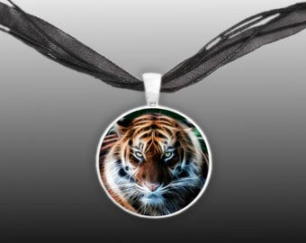 "Tiger Portrait Flame Effect Style Illustration 1"" Pendant Necklace in Silver Tone"
