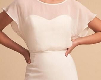 EMMA  Top Alternative bridal top Minimal sheer chiffon crop top with sleeves Bridesmaid separates boxy top