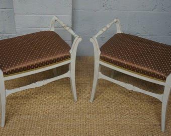 Vintage Pair of Biedermeier Style Painted Stools