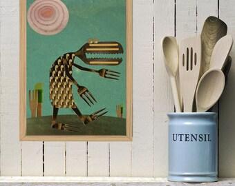 Kitchen Print poster, Art for kitchen, Kitchen wall decor, Kitchen green poster, Kitchen Tools poster - Kitchen Dragon