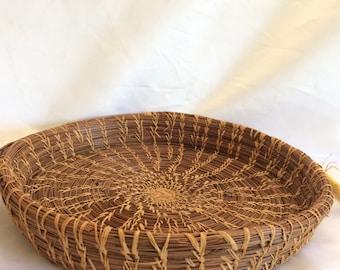 Beautiful Vintage Woven Pine Needle Tray